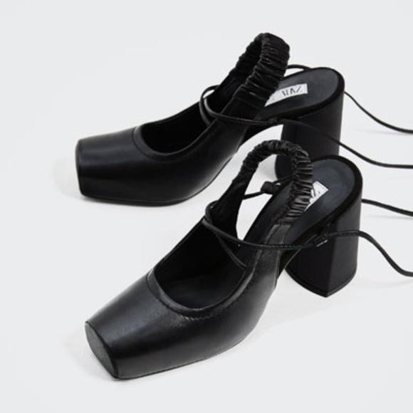8dd9e31abd5 Zara Studio Leather Backless High Heel Shoes NWT